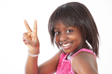 Little girl peace sign with smile