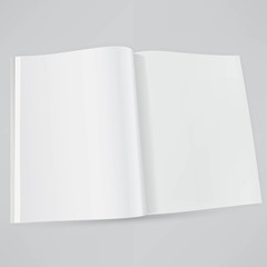 Open magazine double-page spread with blank pages