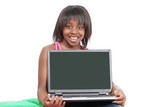 Little girl with laptop, blank screen for your message