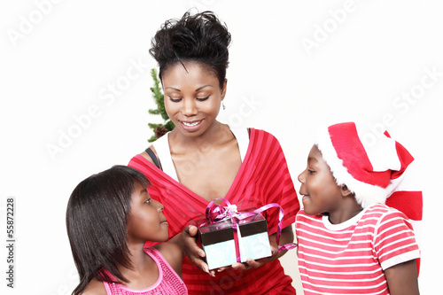 Christmas family presents with mom and kids