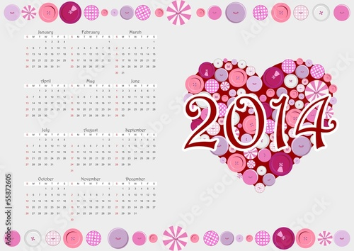 2014 calendar with heart from buttons,vector