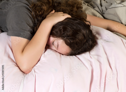 Young Girl Tired in Morning