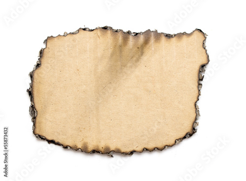 Burned paper on white background with clipping path