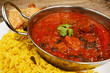 Beef rogan josh in balti dish with rice