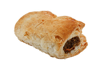 single isolated sausage roll