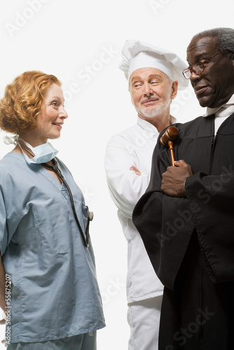 Portrait of a surgeon a judge and a chef