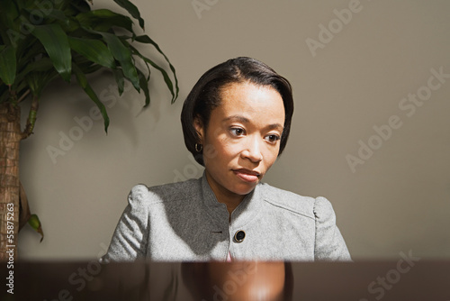 Business woman looking worried