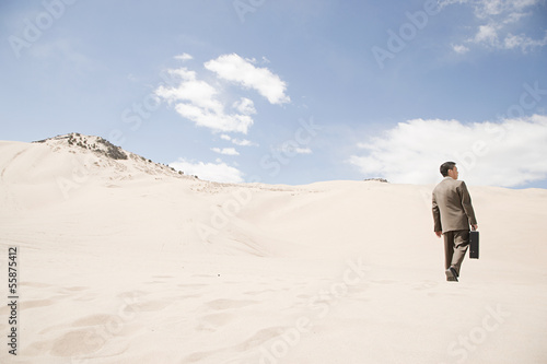 Businessman in desert