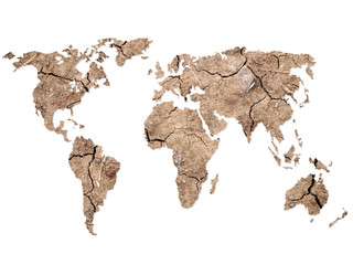 World map Shape on Soil Background