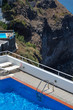 Swimming pools and hotels on the Caldera in Santorini,