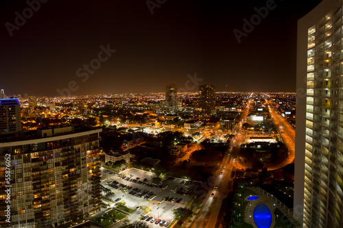 Aerial view of Miami Beach at night