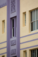 Detail of a classical art deco facade on Ocean drive in Miami Be