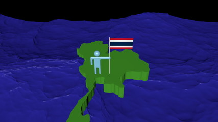 Man with flag on Thailand map in ocean animation