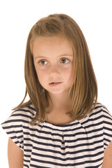 young girl with big eyes in black and white striped shirt with s