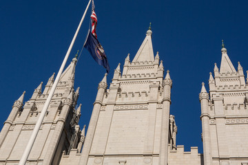 Mormon Church in Salt Lake city with a clear blue sky