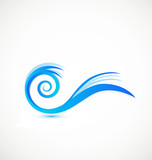 Swirly blue waves logo vector