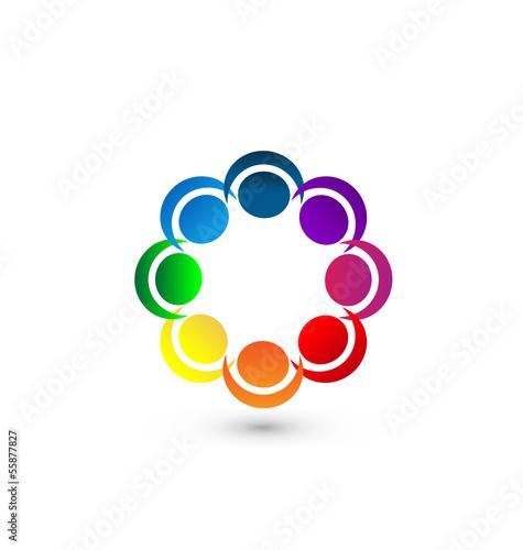 Teamwork people around logo app vector