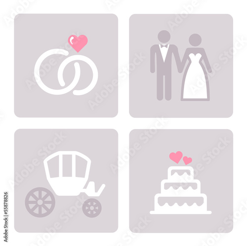 Wedding, bride and groom  -  web icons set.