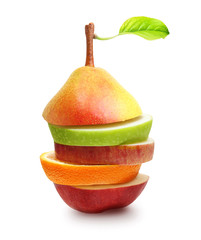 Apples, orange fruit and pear slices isolated on white