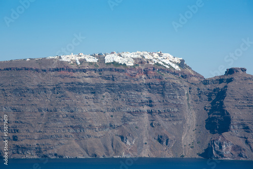 Panoramic view of the  Caldera and  Fira in Santorini, Greece