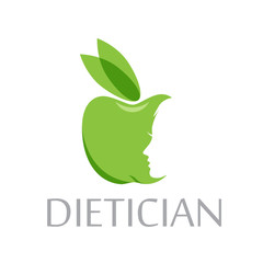 Vector logo diet, dietician. Green apple