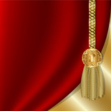 Red curtain with gold tassels, luxurious design for invitations