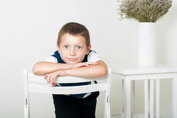 little boy with  on white background