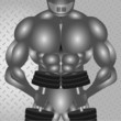 Metal Muscular Body Builder with Dumbbells