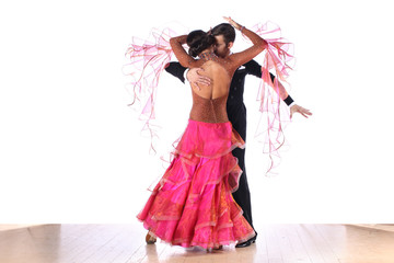 Latino dancers in ballroom isolated on white background