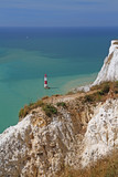 lighthouse in seven sisters national park, east sussex, england