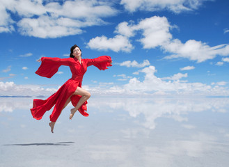 Flying woman in red kimono