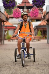 man ride a trike