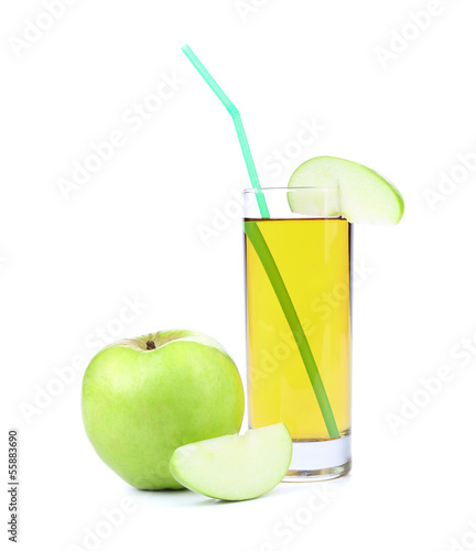 Green apple with juice.