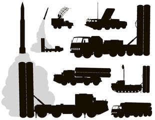 Anti-aircraft warfare vector silhouettes set