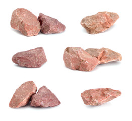 Red stones on a white background.