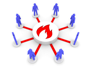 Team fire. Group inspiration. Concept 3D illustration.