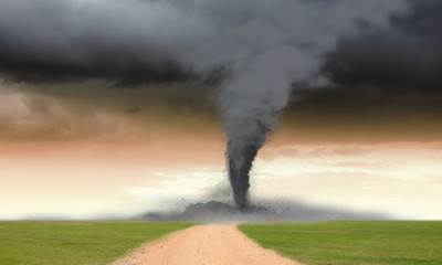 Tornado in meadow