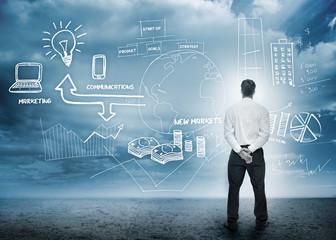 Businessman considering a brainstorm for marketing