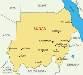 Republic of the Sudan - vector map