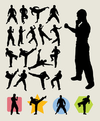 Karateka Kick Silhouettes - Martial Art