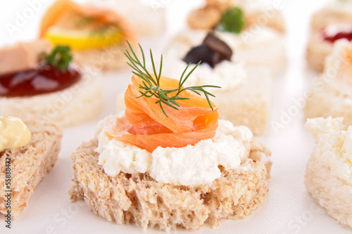 canape with cheese cream and salmon