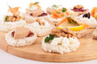 assortment of canape on board