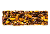 Healthy nut bar isolated on white background. Fitness style life
