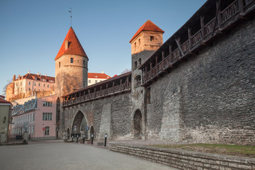 Fortress in old town of Tallinn in the morning
