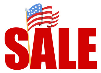 4th of july Vector - sale text with Flag of America