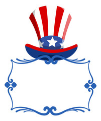 blank frame with uncle sam hat for - 4th of july Vector