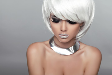 Fashion Beauty Portrait Woman. White Short Hair. Beautiful Girl'