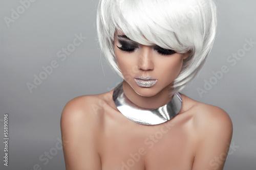 Aluminium Fashion Beauty Portrait Woman. White Short Hair. Beautiful Girl'