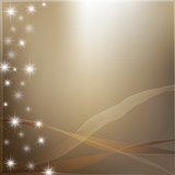 Golden abstract background with bright stars