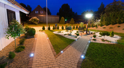 Panoramic view for modern villa garden at night